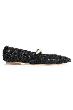 SIMONE ROCHA حذاء مسطّح ذو مقدّمة مدببة مزين بالخيوط اللماعة مع أجزاء محاكة ومجعدة بطريقة بوكليه بنقش مربعات