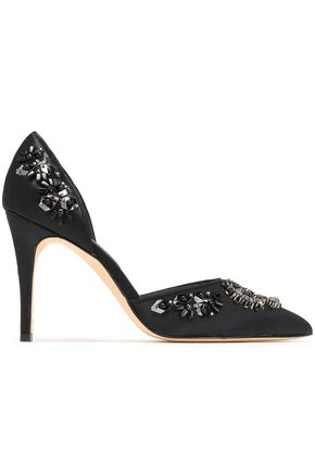 ALICE + OLIVIA Embellished satin pumps