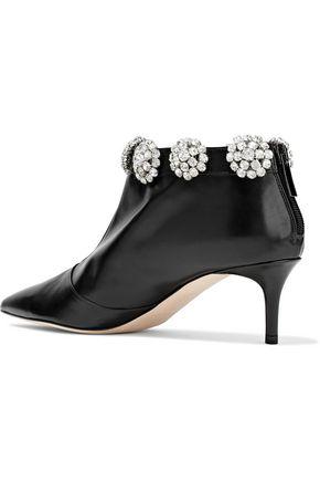 CHRISTOPHER KANE Crystal-embellished leather ankle boots