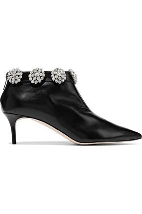 CHRISTOPHER KANE Crystal-embellished leather ankle boots