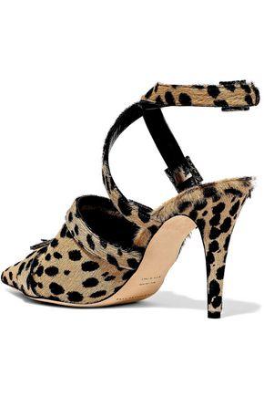 CHRISTOPHER KANE Crystal-embellished leopard-print calf hair pumps
