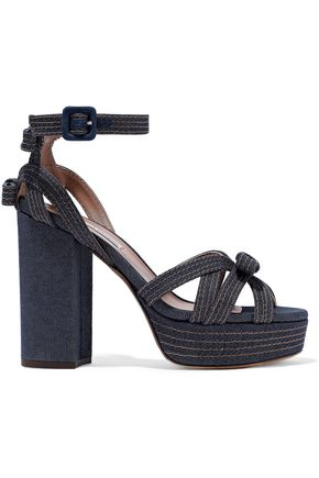 TABITHA SIMMONS Bow-embellished denim platform sandals
