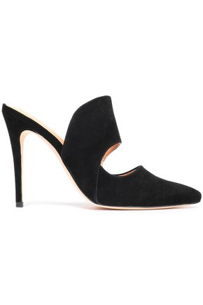 HALSTON HERITAGE Cutout suede mules