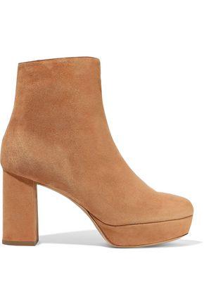 MANSUR GAVRIEL Shearling-lined suede platform ankle boots