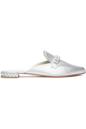 STUART WEITZMAN Faux pearl-embellished leather slippers