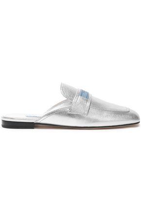 PRADA Metallic textured-leather slippers