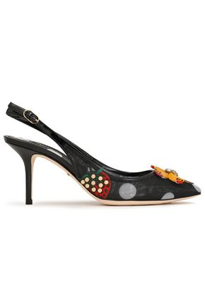 DOLCE & GABBANA Patent leather-trimmed embellished polka-dot slingback pumps
