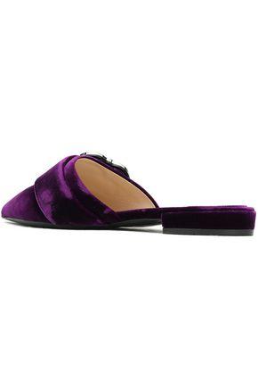 PRADA Crystal-embellished velvet slippers
