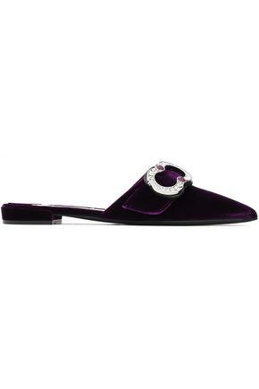 PRADA Crystal-embellished velvet slippers
