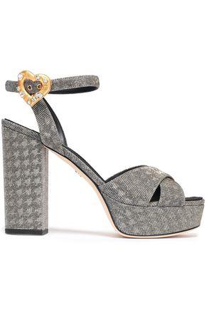 DOLCE & GABBANA Keira houndstooth metallic twill platform sandals
