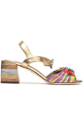 DOLCE & GABBANA Embellished metallic leather and raffia sandals