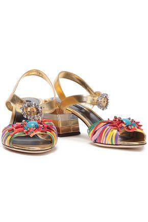 de6577f4e DOLCE & GABBANA Embellished metallic leather and raffia sandals