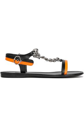 PRADA Chain-trimmed two-tone leather sandals