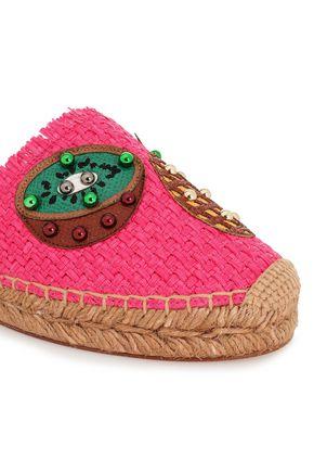 DOLCE & GABBANA Paneled leather-trimmed embellished raffia espadrilles