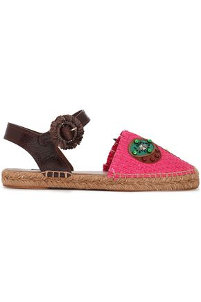 DOLCE & GABBANA Paneled leather-trimmed embellished raffia espadrilles