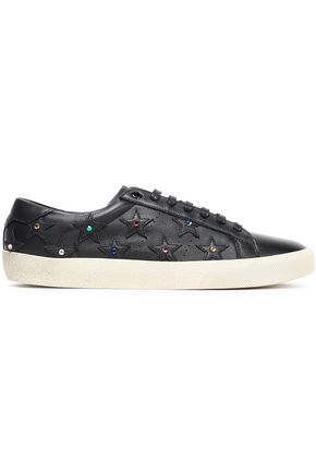 SAINT LAURENT Appliquéd crystal-embellished leather sneakers