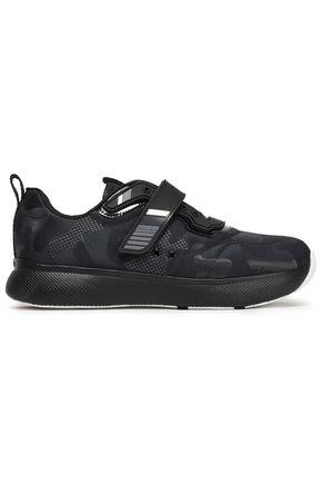 PRADA LINEA Patent-leather mesh-jacquard sneakers
