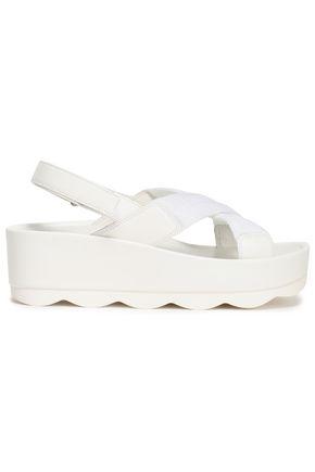 PRADA LINEA ROSSA Patent-leather and woven platform sandals