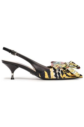 PRADA Bow-embellished printed woven and leather slingback pumps