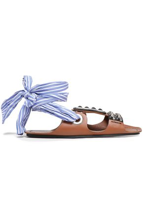 PRADA Studded leather and striped woven sandals