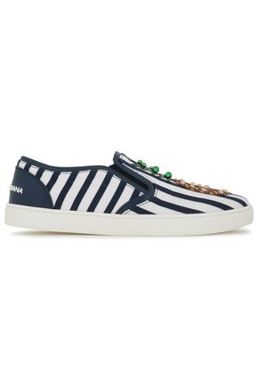 DOLCE & GABBANA Appliquéd studded striped mesh slip-on sneakers