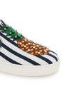 DOLCE & GABBANA Appliquéd studded striped mesh slip-on sneakers