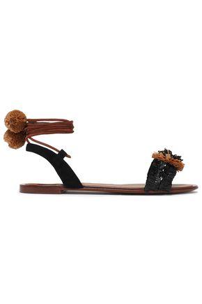 DOLCE & GABBANA Suede-trimmed embellished raffia sandals