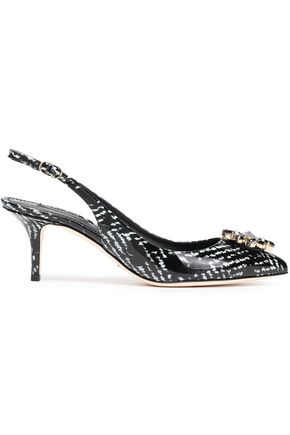 DOLCE & GABBANA Crystal-embellished printed patent-leather slingback sandals