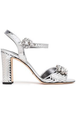DOLCE & GABBANA Crystal-embellished sliced mirrored-leather sandals