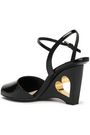 PRADA Cutout patent-leather wedge sandals