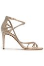DOLCE & GABBANA Cutout crystal-embellished leather sandals