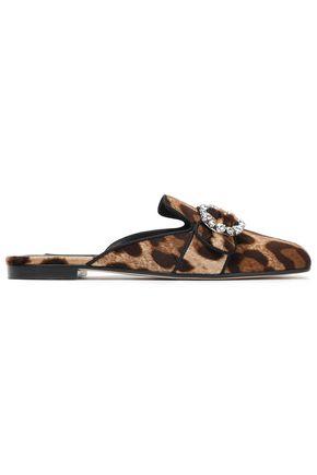DOLCE & GABBANA Crystal-embellished leopard-print velvet slippers