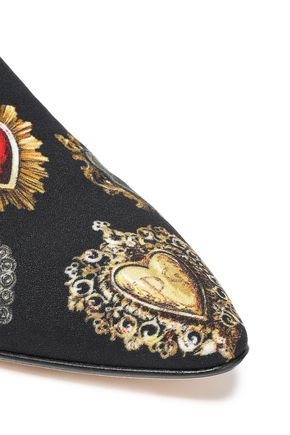DOLCE & GABBANA Leather-trimmed printed crepe slippers