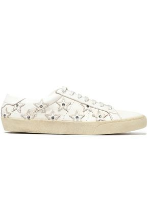 SAINT LAURENT Appliquéd studded leather sneakers