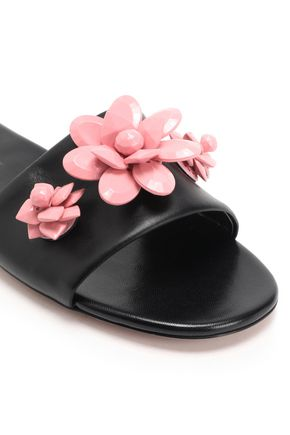 PRADA Floral-appliquéd leather sandals
