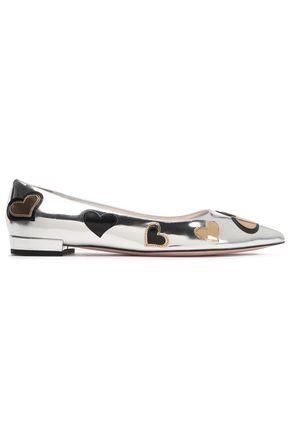 PRADA Appliquéd two-tone mirrored-leather point-toe flats