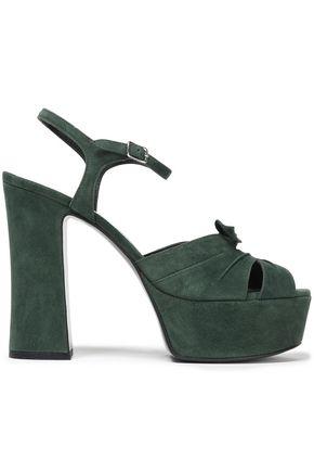 SAINT LAURENT Knotted suede platform sandals