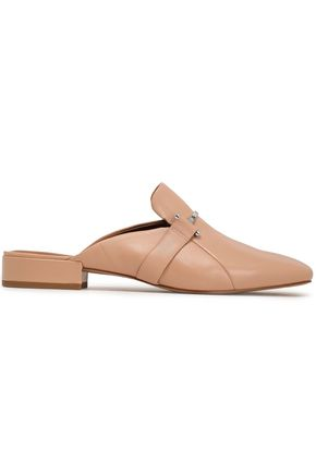 HALSTON HERITAGE Appliquéd leather slippers