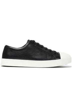 PRADA LINEA Leather and textured-rubber sneakers