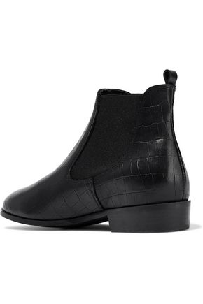 IRIS & INK Glossed croc-effect leather ankle boots