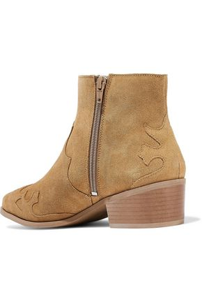 IRIS & INK Saffy appliquéd suede ankle boots