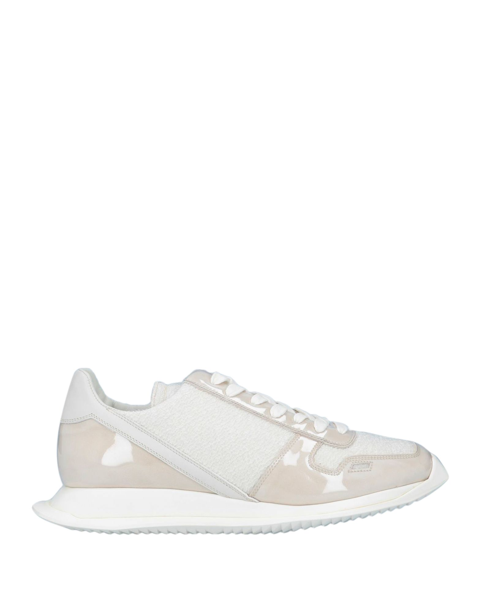 RICK OWENS Sneakers. rubbery effect, no appliqués, solid color, laces, round toeline, flat, leather lining, rubber cleated sole, contains non-textile parts of animal origin. Textile fibers, Plastic, Soft Leather