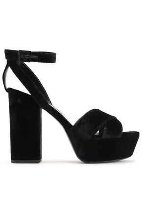 SAINT LAURENT Velvet platform sandals