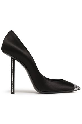 SAINT LAURENT Crystal-embellished silk-satin pumps