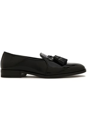 SAINT LAURENT Tassel-trimmed patent-leather loafers