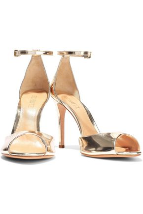 SCHUTZ Saasha Lee mirrored-leather sandals