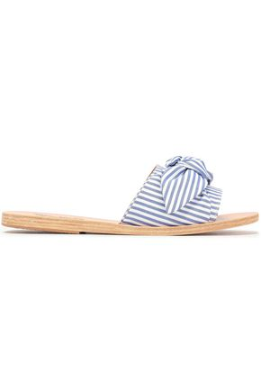 ANCIENT GREEK SANDALS Taygete bow-embellished striped cotton slides
