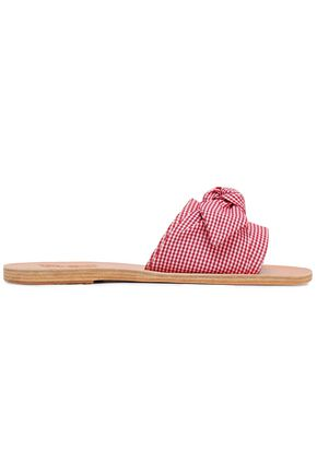 ANCIENT GREEK SANDALS Taygete bow-embellished gingham cotton slides