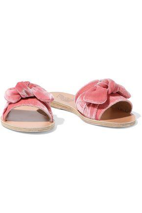 Ancient Greek Sandals Taygete Bow-embellished Velvet Slides In Pink