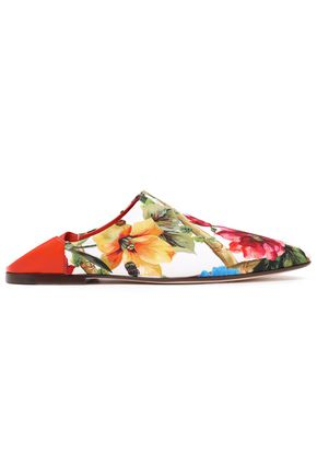 DOLCE & GABBANA Leather-trimmed floral-print crepe slippers